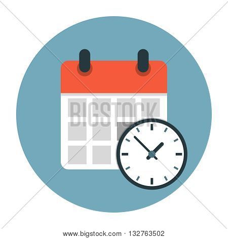 Calendar with clock flat icon. Timetable vector illustration