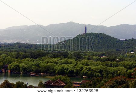View  towards Jade Spring Hill with Jade Peak Pagoda in Beijing. China