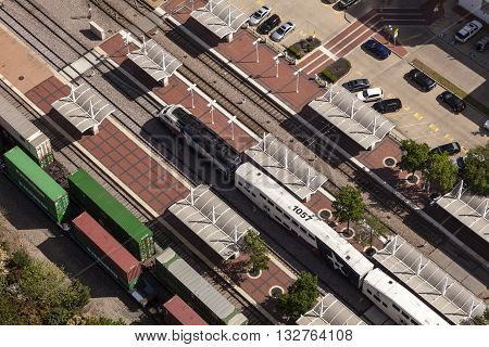 DALLAS USA - APR 7: Aerial view of the Central Station in Dallas with a Trinity Railway Express train. April 7 2016 in Dallas Texas United States