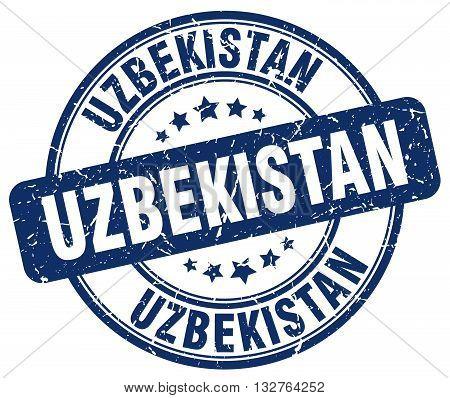 Uzbekistan blue grunge round vintage rubber stamp.