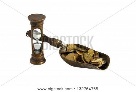 Golden coins and hourglass symbolize Time is money concept - isolated on white background