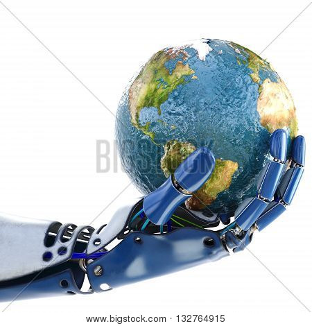 Hand of robot holding the Earth. isolated on white background. Earth map furnished by NASA. 3D illustration.
