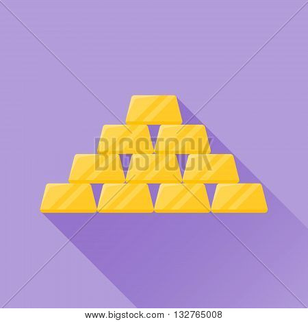 Gold bullion flat icon with long shadow on purple background. Gold bars. Vector illustration.
