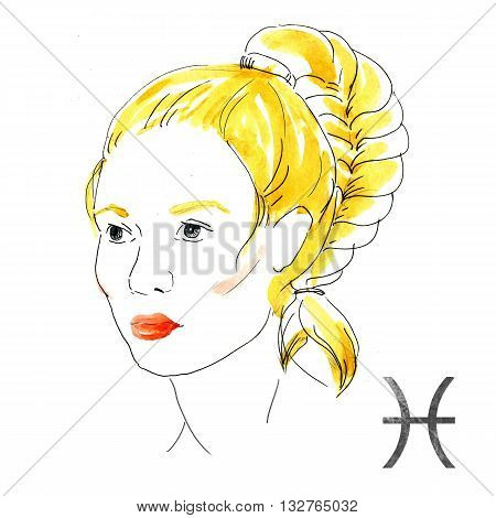 Beautiful image with nice watercolor horoscope girl Pisces