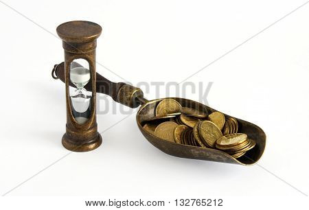 Golden coins and hourglass symbolize Time is money concept