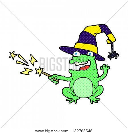 freehand drawn cartoon toad casting spell