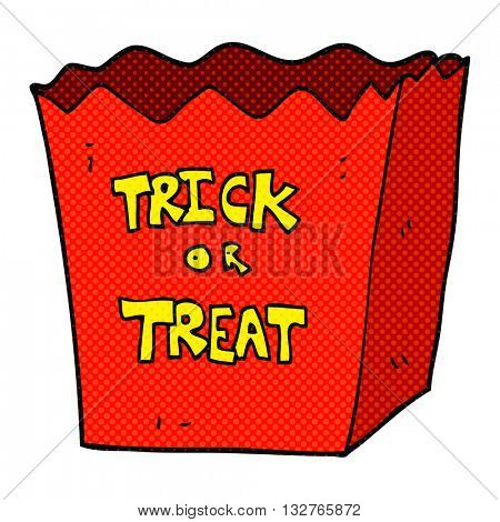 freehand drawn cartoon trick or treat bag