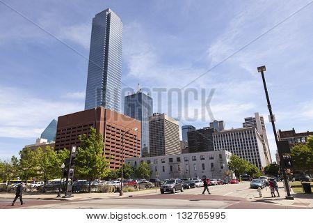 DALLAS USA - APR 7: Downtown scenery in the city of Dallas. April 7 2016 in Dallas Texas United States