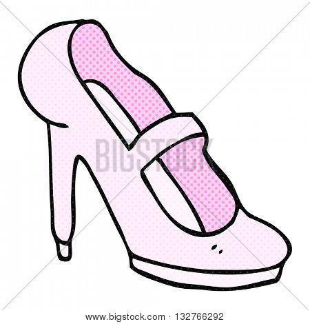 freehand drawn cartoon high heeled shoe
