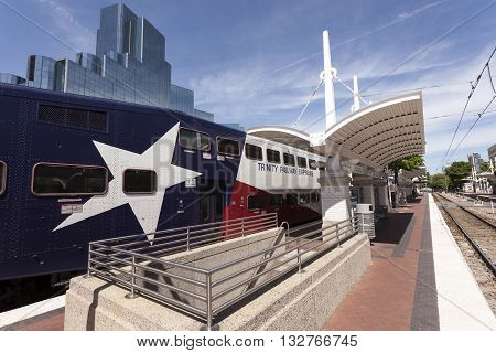 DALLAS USA - APR 7: Trinity Railway Express train (TRE) at the Central Station in the city of Dallas. April 7 2016 in Dallas Texas USA