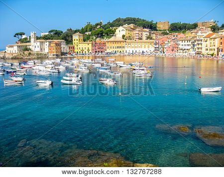 Aerial view of the spectacular and famous Bay of Silence with its boats and its lovely beach. Sestri Levante, Province of Genoa in Liguria, Italy.