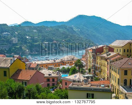 Aerial view of Santa Margherita Ligure, famous Italian resort town between Portofino and Rapallo, Province of Genoa, Italy.