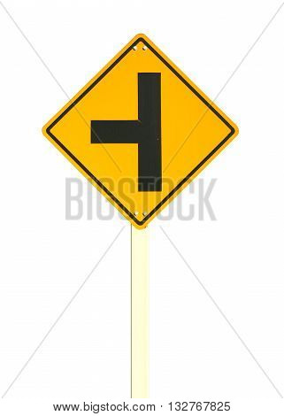 three intersection traffic sign isolated on white color background