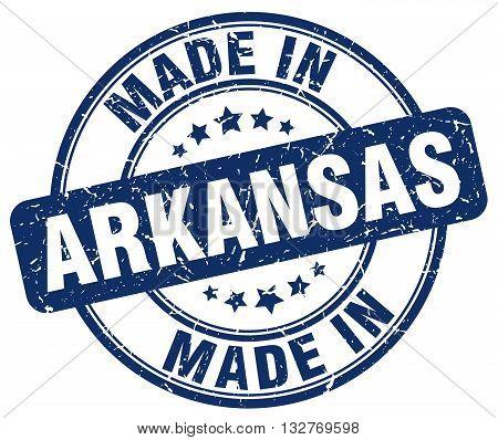 made in Arkansas blue round vintage stamp.