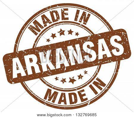 made in Arkansas brown round vintage stamp.