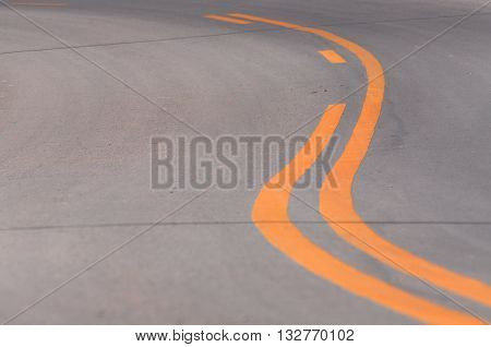 Double yellow lines on a asphalt road