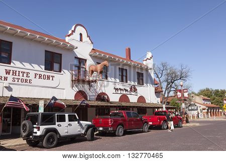 FORT WORTH USA - APR 6: House with a horse statue in the Fort Worth Stockyards historic district. April 6 2016 in Fort Worth Texas USA