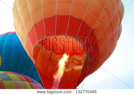 Colorful hot air balloons flying in sky