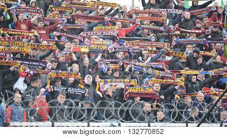 HRADEC KRALOVE 04/04/2015 _ AC Sparta Prague fans. Match between FC Hradec Kralove and AC Sparta Praha