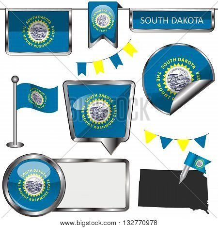 Glossy Icons With Flag Of State South Dakota