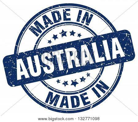 made in Australia blue round vintage stamp.