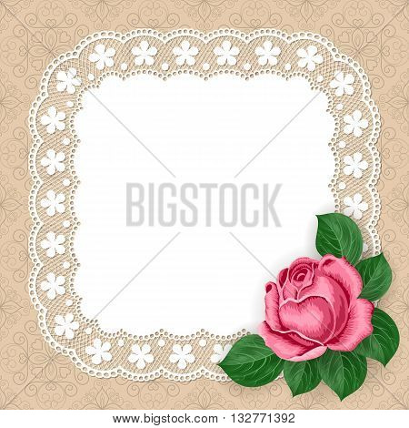 Vintage background with hand drawn rose and lace doily on pastel background. Greeting card invitation template. Illustration in retro style. Vector