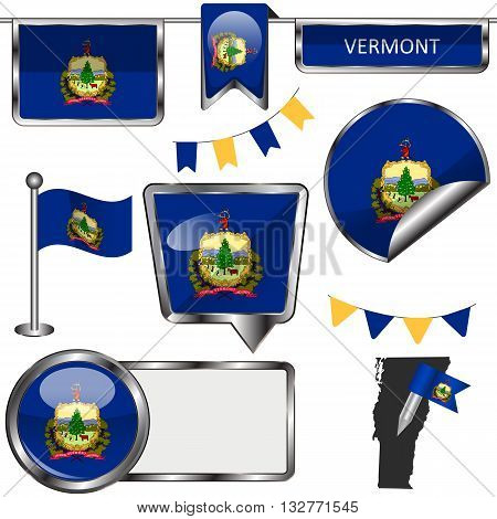 Glossy Icons With Flag Of State Vermont