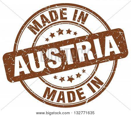 made in Austria brown round vintage stamp.Austria stamp.Austria seal.Austria tag.Austria.Austria sign.Austria.Austria label.stamp.made.in.made in.