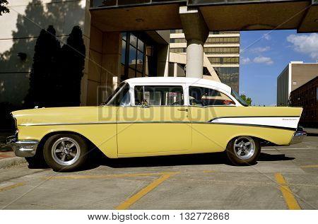 FARGO, NORTH DAKOTA, June 1, 2016: The yellow '57 Chevy