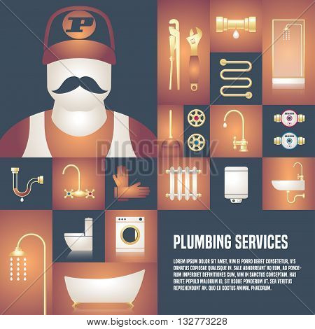 Plumbing service vector template design element for article flyer advertsigin materials. Plumbing tools and equipment