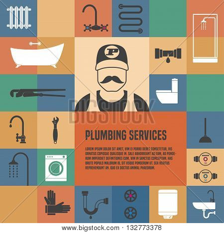 Plumbing service template design element for article flyer advertsing materials. Plumbing tools and equipment
