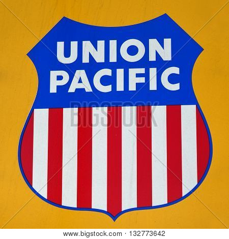 BAKERSFIELD, CA - JUNE 2, 2016: The old and famous Union Pacific logo as it appears on the side of a diesel electric locomotive.