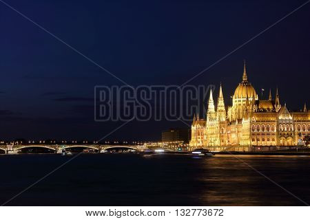 Hungarian Parliament Building and Margaret Bridge on the Pest bank of Danube River Budapest Hungary