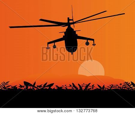 military helicopter flying in the sky sunset