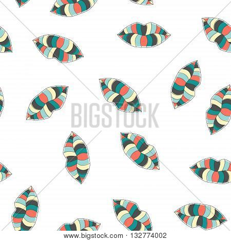 Stylish seamless pattern. Seamless transparent background with colorful lips. Fashion and beauty seamless kiss pattern for textile fabrics paper package print. Vector seamless pattern illustration.