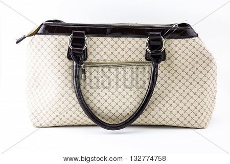 Close up elegant woman bag on white background