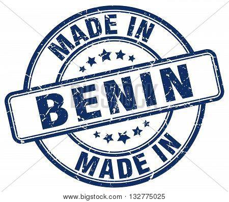 made in Benin blue round vintage stamp.