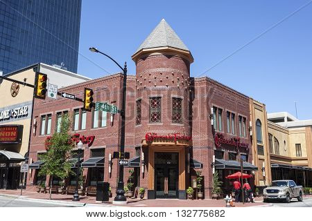 FORT WORTH USA - APR 6: The Cheesecake Factory building downtown in Fort Worth. April 6 2016 in Fort Worth Texas USA