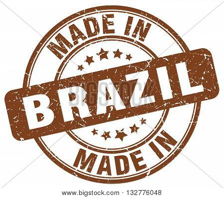 made in Brazil brown round vintage stamp.Brazil stamp.Brazil seal.Brazil tag.Brazil.Brazil sign.