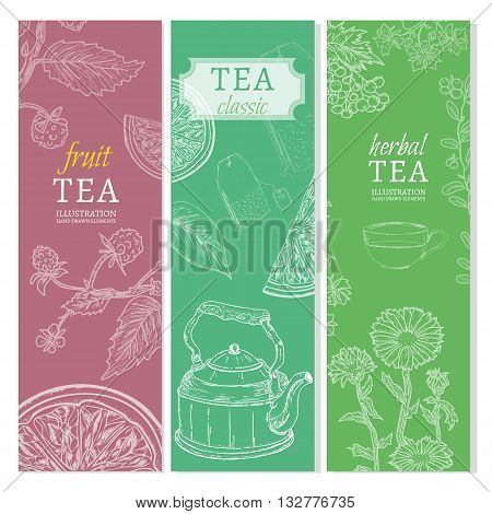 Tea banners black tea fruit tea herb tea hand drawn elements vintage tempate sketch vector illustration