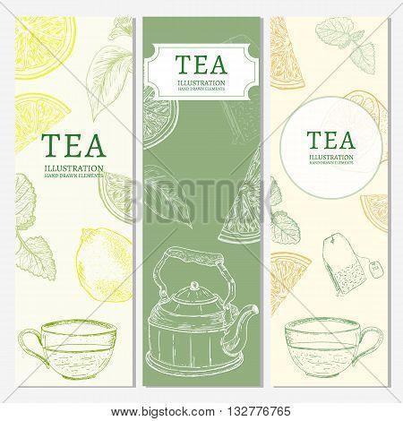 Tea banners hand drawn vintage tempate sketch vector illustration