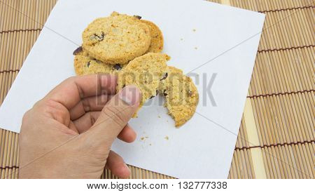 close up of delicious crisp oaty biscuits