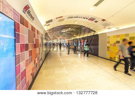 KUALA LUMPUR MALAYSIA - NOVEMBER 02 2014: Tunnel to Aquaria KLCC in Petronas Twin Towers. Suria KLCC is one of the largest shopping malls in Malaysia