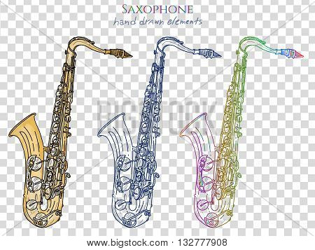 Saxophone isolated on white vector set jazz