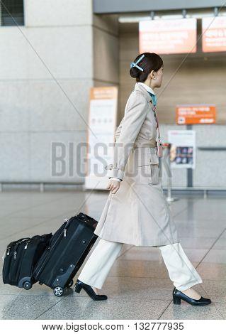 Asian Korean Air Flight Stewardess In Incheon International Airport
