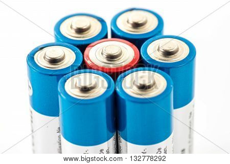 Alkaline Batteries Aa Size On White Background
