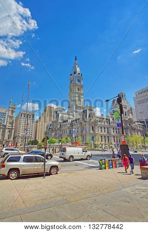 Philadelphia City Hall With William Penn Sculpture On The Tower