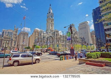 Philadelphia City Hall With William Penn Statue On The Tower