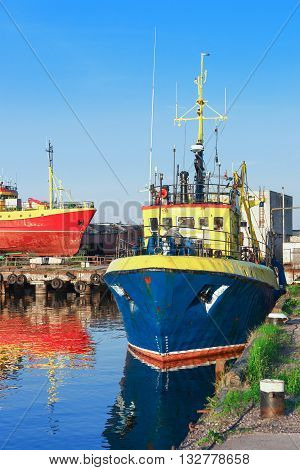 Ship In The Marina In Ventspils In Latvia
