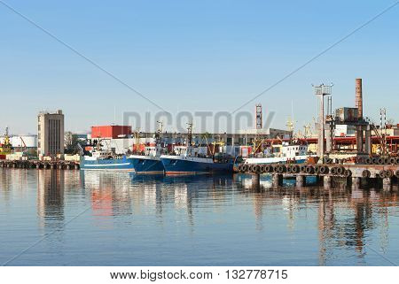 Ships In The Marina In Ventspils In Latvia